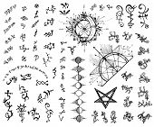 Design Set With Abstract Alchemy And Sacred Geometry Signs.  Vector Engraved Illustration In Gothic  poster
