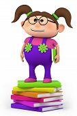 school girl standing on stack of books