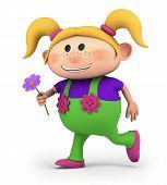 girl running with flower