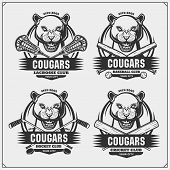 Cricket, Lacrosse, Baseball And Hockey Logos And Labels. Sport Club Emblems With Cougars. Print Desi poster