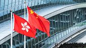 Hong Kong And Mainland China National Flags Stand Together With Copy Space. Nation Symbol, Countries poster