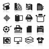 Print icons set elegant series