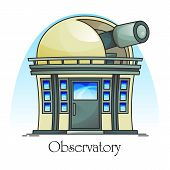 Planetarium Building With Telescope In Dome. Observatory Facade Exterior Or Outdoor View. Science An poster
