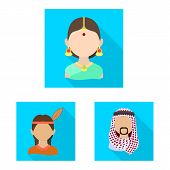 Isolated Object Of Nation And Race Symbol. Set Of Nation And User Vector Icon For Stock. poster