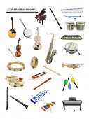 foto of vaudeville  - The image of music instruments under the white background - JPG