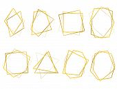 Realistic 3d Detailed Golden Polygonal Frames Thin Line Set For Invitation Decoration. Vector Illust poster