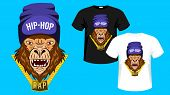 Monkey, Gorilla Of Hip-hop Music. Hip Hop Rapper Gorilla Head In Hat. Image For Printing On T-shirt. poster