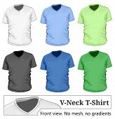 Vector. Men's v-neck t-shirt design template (front view).