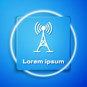 White Antenna Icon Isolated On Blue Background. Radio Antenna Wireless. Technology And Network Signa poster