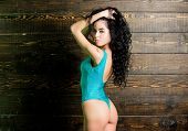 Girl Attractive Sexy Body Posing In Swimsuit. Woman Long Curly Hair Wear Bikini. Female Sexy Body Sa poster