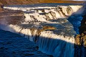 Gullfoss Waterfall View In Iceland, Europe. Gullfoss Is One Of The Most Popular Waterfalls In Icelan poster