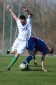 KAPOSVAR, HUNGARY - MARCH 17: Milan Szolomayer (white) in action at the Hungarian National Champions