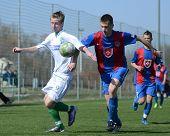 KAPOSVAR, HUNGARY - MARCH 17: Adam Hampuk (white) in action at the Hungarian National Championship u