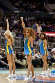 LOS ANGELES - MARCH 10: UCLA cheerleaders during the NCAA Pac-10 Tournament basketball game between