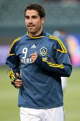 CARSON, CA. - MAY 14: Los Angeles Galaxy F Juan Pablo Angel #9 before the MLS game between Sporting