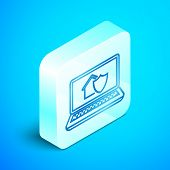 Isometric Line Laptop With House Under Protection Icon Isolated On Blue Background. Protection, Safe poster