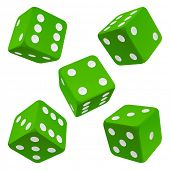 Dice set. Green vector icon