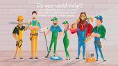 Home Repair, Construction Contractors, Plumbing Service Cartoon Vector Poster Template. Workers Char poster