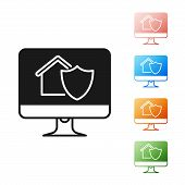 Black Computer Monitor With House Under Protection Icon Isolated On White Background. Protection, Sa poster