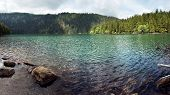 Wide panoramic photo of the Black Lake, the Largest natural lake in the Czech Republic is located in