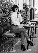 Pleasant Time And Leisure. Relax And Coffee Break. Happy To Hear You. Woman Attractive Elegant Brune poster