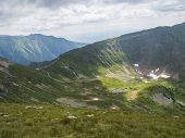 View From Ostry Rohac Peak On Western Tatra Mountains Or Rohace Panorama. Sharp Green Mountain Peaks poster