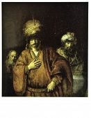 USSR - CIRCA 1987: Postcard printed in thr USSR shows paint by Rembrandt Harmensz van Rijn
