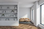 White Living Room With Bookcase And Sofa poster
