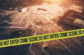 White Chalk Outline Of Killed Body, Blood An Floor And Yellow Police Caution Tape With Text - Crime  poster