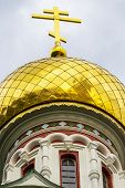 Onion-shaped Gold-plated Dome Of Shipka Memorial Church Or Memorial Temple Of The Birth Of Christ Bu poster
