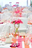Wedding tables set for fun dining during a banquet or wedding event