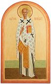 religious orthodox oil painted icon on wood of Saint Nicolas