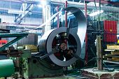 Metal Round Roll Of Galvanized Stainless Steel Sheet, Industrial Metalwork Machinery Manufacturing poster