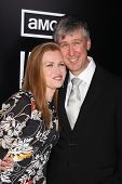 LOS ANGELES - MAR 26:  Mireille Enos; Alan Ruck arrives at  the AMC's