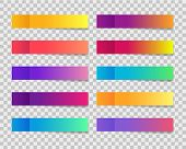 Trendy Post Note Stickers With Gradient On Transparent Background. Sticky Note Template. Set Of Colo poster