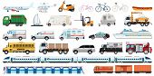 Transportable Vehicle Set Of Airplane, Subway Train, Car , Bicycle And Truck For Transportation In C poster