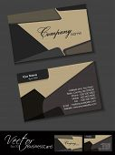Professional business card set, template or visiting card. Artistic, abstract corporate look in dark