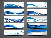 Vectorillustratie van banners of website headers met abstracte Golf formulieren in blauwe kleur. EPS 10.