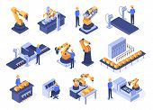 Isometric Industrial Robots. Assembly Line Machines, Robotic Arms With Engineer Workers And Manufact poster