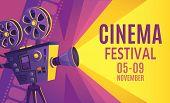 Cinema Festival Poster. Film Billboard, Retro Movie Camera And Cinema Projector. Cinematography Fest poster
