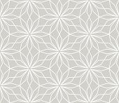 Modern Simple Geometric Vector Seamless Pattern With White Flowers, Line Texture On Grey Background. poster