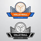 Volleyball Logo Template With Ball Flying Over The Net. Orange And Blue Sport Logo Template With Fly poster