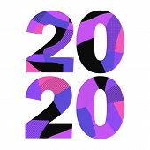 Memphis Style 2020 New Year. Creative Vector Element. White Background. Trendy Graphic Design. Happy poster