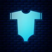 Glowing Neon Baby Clothes Icon Isolated On Brick Wall Background. Baby Clothing For Baby Girl And Bo poster