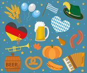 Oktoberfest Icon Set , Flat Or Cartoon Style. October Fest In Germany Collection Of Traditional Symb poster