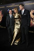LOS ANGELES, CA - MAR 12: Josh Hutcherson, Jennifer Lawrence, Liam Hemsworth at the premiere of Lion