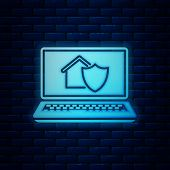 Glowing Neon Laptop With House Under Protection Icon Isolated On Brick Wall Background. Protection,  poster