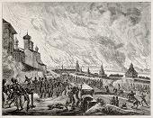 Brand von Moskau (1812) alte Abbildung. erstellt von Etienne nach Gros, veröffentlicht am Magasin pittores