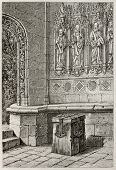 Antique offering box in the porch of Pencran church, France. Created by Catenacci and Guillaume, published on Magasin Pittoresque, Paris, 1882