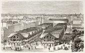 Carreau-du-Temple covered city market, Paris. Created by Fichot, published on L'Illustration, Journal Universel, Paris, 1863